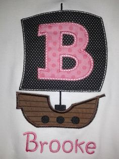 Pirate Ship Alphabet Monogram or Birth Number Shirt - Personalized Shirt - Skavenger Hunt - Pirate Party by RockintheTutu on Etsy