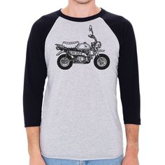 Honda Monkey Motorcycle Men's 3/4 Sleeve, Baseball Shirt