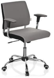 Dieser Bürostuhl in schlichtem Design ist durch die Mischung aus schwarzem und grauen Bezug ein echter Hingucker.