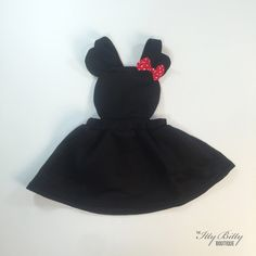 Minnie Mouse party dress in black & red. Perfect for birthday pictures or a birthday party or even a Halloween costume.
