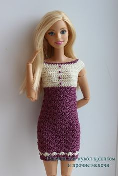 For photo only. VK from Russia has so many beautiful Barbie clothes but no patterns in English.free crochet doll costumes for barbie dollsI am going to show step by ste Barbie Clothes Patterns, Crochet Barbie Clothes, Clothing Patterns, Dress Patterns, Barbie Knitting Patterns, Doll Costume, Barbie Dress, Crochet Fashion, Green Dress