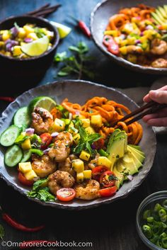 Shrimp Salad Bowl with Mango Salsa - A scrumptious salad bowl that turns leftovers into a paleo bowl of deliciousness packed with nutrition.