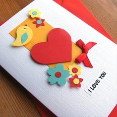 There's nothing like receiving a handmade valentine card that makes you feel special and loved. Handmade gifts cards always touch the heart of the receiver. Pretty Cards, Love Cards, Diy Cards, Scrapbooking, Scrapbook Cards, Handmade Birthday Cards, Greeting Cards Handmade, Valentine Day Cards, Love Valentines