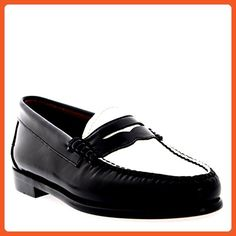 2b3f6560 Womens G.H Bass Weejuns Penny Office Smart Work Leather Loafers Shoes -  Black/White -