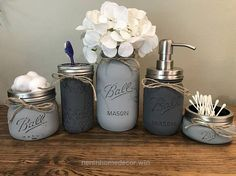 Nice Rustic Bathroom Decor Mason Jar Bathroom Set Mason Jar  The post  Rustic Bathroom Decor Mason Jar Bathroom Set Mason Jar…  appeared first on  Nenin Decor .