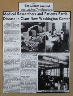 "July 1953.  Headlines from around the nation told it all when the #NIH Clinical Center opened:  ""Patients--and Guinea Pigs,""  ""Government Opens New Type Clinic to Conquer Disease,"" ""Two Laboratories to Every Hospital Bed in Fabulous New Clinic,"" and ""Mrs. Hobby Opens That Big Bethesda Hospital.""  The Clinical Center press office collected the coverage in a lovely album for posterity."