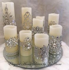 Conjunto de velas, flickering LED w Silver Christmas Decorations, Gold Christmas, Christmas Crafts, Candle Decorations, Wedding Decorations, Christmas Candles, Xmas, Centerpieces, Decorating Candles