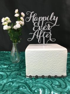 Silver Cake Topper Happily Ever After Cake by PSWeddingsandEvents
