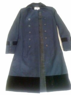 CHLOE Military Navy Blue /Velvet Trim France Winter Coat 38   eBay