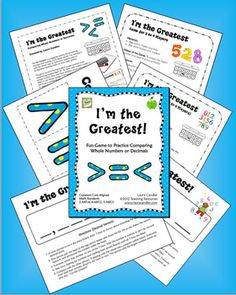CCSS Aligned with Math Standards 2.NBT.4, 4.NBT.2, 5.NBT.3  I'm the Greatest is an engaging activity for comparing numbers and reading word names aloud. You can play it with the whole class or have your students play in cooperative learning teams or even math centers. $