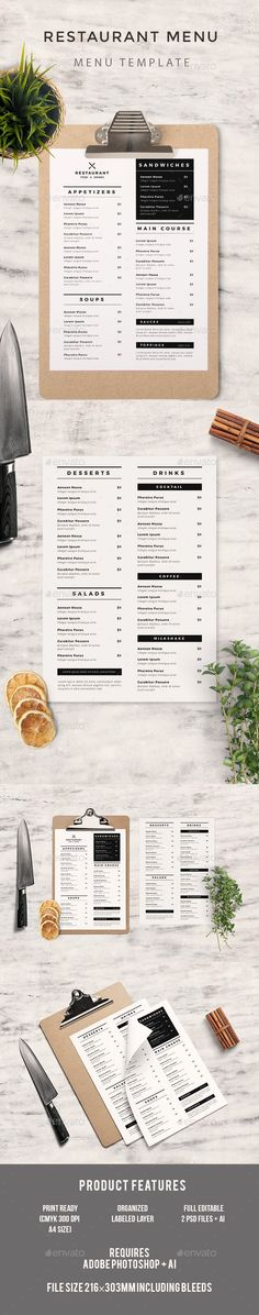 Simple Food Menu, Featured 2 Ai Psd File Size Bleed CMYK 300 DPI Print Ready Well Organized Layer Full Editable Text Fonts Used source sans montserrat Don¡¯t forget to rate the files, it will be highly appreciated. Cafe Menu Design, Restaurant Menu Design, Hotel Menu, Burger Menu, Burger Restaurant, Speisenkarten Designs, Weekly Menu Template, Food Web Design, Menu Layout