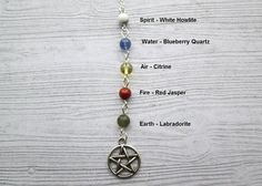 Five Elements Necklace, Wiccan Necklace, Pagan Necklace, Pagan Jewelry, Witch jewellery, Water, Fire, Air, Earth, Spirit necklace, Paganism
