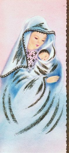Mother and Child Vintage Christmas Card