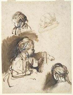 Rembrandt (1606–1669), Three Studies of a Child and One of an Old Woman; Brown ink, 21.5x16.1cm | Harvard Art Museums