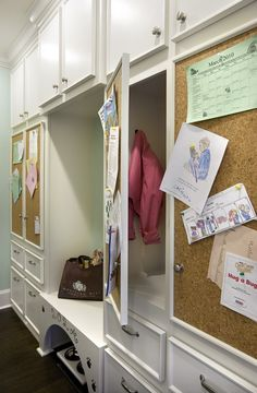 I need this - kids cubbies with notice boards! Wonderful!