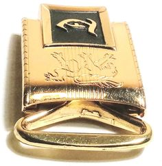 """HICKOK USA MASTER PLATE ZN-ALLOY INITIAL """"T"""" GOLD TONE MEN'S BELT BUCKLE"""