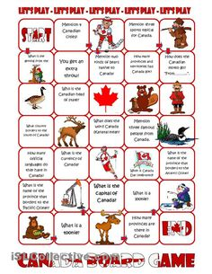 board game on Canada for ESL students. Canadian Facts, Canadian Culture, Canadian History, Canadian Things, Canadian Food, Canada For Kids, Canada 150, Canada Day Fireworks, Canada Day Crafts