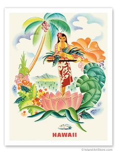 Hawaiian Art Prints & Posters - Matson Lines to Hawaii, Tropical Abundance - Giclée Art Prints & Posters