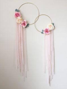 Gold Hoop Wreath Silk Flowers Wreath Modern by LoveAndPetals