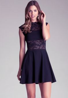 With sheer lace paneling, an elegant neckline and a flirty A-line silhouette, this little black bebe dress is sure to turn heads all evening long. Match it with a glossy black heel and a statement bracelet for the full effect.