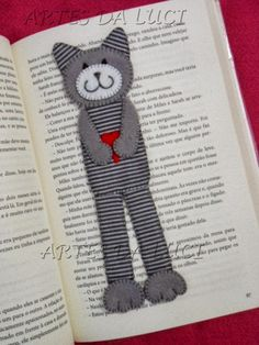 stitched cat bookmark