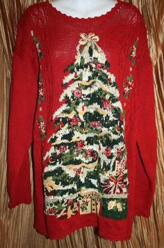 Ugly Christmas Sweater Stitches In Time Large Ladies Mens Red Big Tree Party L