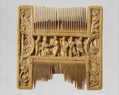 Double-Sided Ivory Liturgical Comb with Scenes of Henry II and Thomas Becket  Date: ca. 1200–1210;  Geography: Made in, Canterbury, England (possibly);  Medium: Ivory;  Dimensions: Overall: 3 3/8 x 3 3/8 x 1/2 in. (8.6 x 8.6 x 1.2 cm);  Accession Number: 1988.279