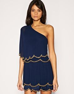 Love this dress! One Shoulder Dress with Scalloped Hem and Bead Embellishment