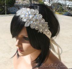 Crystal bridal headband ribbon statement hairpiece bride