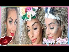 MAQUIAGEM PRA CARNAVAL: Como Fazer Maquiagem com glitter e boca vermelha - YouTube