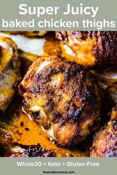 Juicy Baked Chicken Thighs are easy to make and the most DELICIOUS oven baked chicken thighs ever! Baked until crispy outside and unbelievably juicy inside. Perfect Baked Chicken Breast, Juicy Baked Chicken, Crispy Baked Chicken Thighs, Chicken Thighs Oven Time, Keto Chicken Thighs, Chicken Tenders, Good Healthy Recipes, Healthy Chicken Recipes, Paleo Recipes