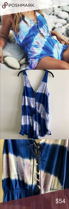 Tye-dye Winston White Romper Blue and purple tye-dye romper with ruffled hem, lace up front, and deep v back. Perfect for festivals, concerts, beach trips, etc! Winston White Other