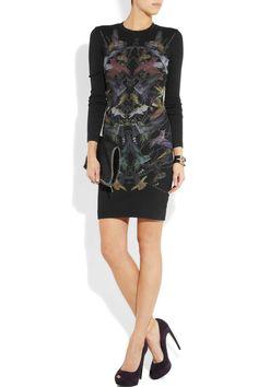 McQ Alexander McQueen|Hummingbird-print stretch-jersey mini dress|NET-A-PORTER.COM