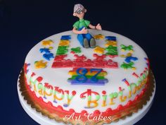 Cake Decorated By Girl With Autism : Autism grooms cake. Fondant covered puzzle piece cakes ...