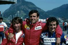 rene arnoux 1983   1983 Rene Arnoux Patrick Tambay Alain Prost Brasil GP Rio de Janeiro