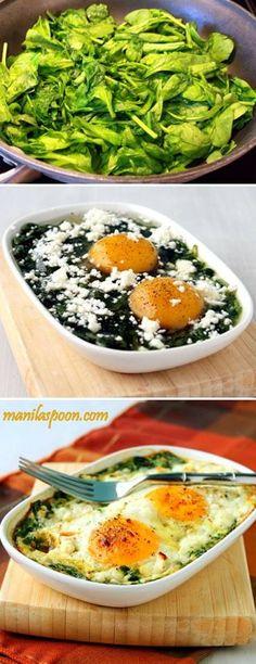 Espinafre, queijo e ovos.