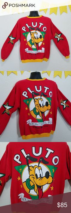 """VTG Disney Pluto Graphic Spellout Sweatshirt J4 On trend, vintage 90s Disney's Pluto graphic spellout crew neck sweatshirt!   -Good vintage condition- spot near arm emblem (pic 6), worn near collar on each side (pic 7), pilling (pic 8) -Says """"The Faithful Pup"""" -""""A Mouse's Best Friend"""" -Size: L Please use measurements for best fit, all measurements are taken laying flat: -Chest armpit to armpit 20"""" -100% Cotton -Red and yellow (colors' appearance may vary on screen)  Questions? Just ask…"""