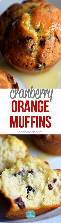Cranberry Orange Muffins Recipe - Bakery style Cranberry Orange Muffins make the perfect addition to any breakfast. This easy muffin recipe is always a favorite! // addapinch.com