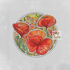 POPPY cross stitch flower pattern, floral cross stitch pattern, flower embroidery design floral embroidery pattern modern cross stitch fairy  #poppies #crossstitch #floral #crossstitchpattern #flowers #embroidery #etsyshop #etsyfinds