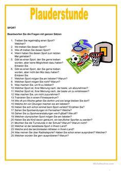 Ώρα ομιλίας - Αθλητισμός - Φύλλο εργασίας προφορικής επικοινωνίας - Δωρεάν φύλλα εργασίας DAF German Language Learning, Learn A New Language, German Resources, Deutsch Language, German Grammar, Learn German, Worksheets, Germany, Teaching