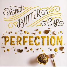 Chocolate ice cream with peanut butter, Reese's Peanut Butter Cups, and fudge sauce make up of this tasty #typographic #composition. Designed by @homsweethom and @beccaclason