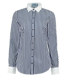 Women's Navy & White Stripe Semi Fitted Shirt With Contrast Detail - Single Cuff