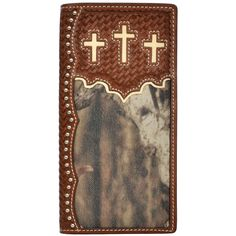 3D Western Mens Wallet Rodeo Leather Tooled Floral Concho W814