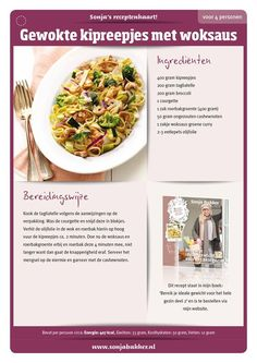 Gewokte kipreepjes met broccoli en woksaus by Sonja Bakker I Love Food, Good Food, Yummy Food, Cheat Meal, Good Healthy Recipes, Healthy Food, Fabulous Foods, Weight Watchers Meals, Light Recipes