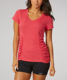 Heather Peony Red Ruched V-Neck Tee