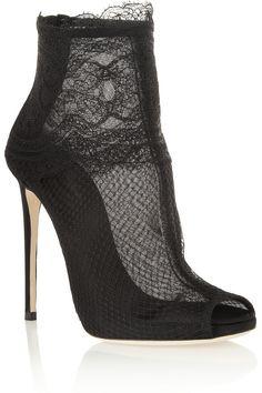 Dolce & Gabbana Lace-trimmed net ankle boots  NET-A-PORTER.COM