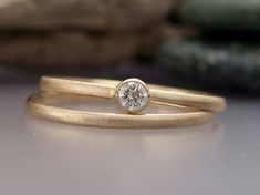 Tiny Diamond and 14k Yellow Gold Engagement and by LichenAndLychee