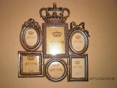 """""""Royal"""" Princess Wall Frame Collage - Six Frames in Champagne Finish with Crown and Bows 