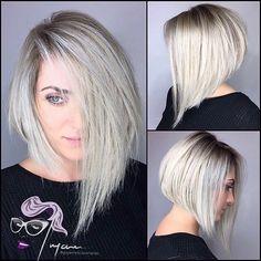 Asymmetrical A line bob haircut by @guyannescissorhands • 98 likes