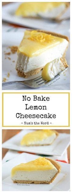 This No Bake Lemon Cheesecake is a lemon lovers dream come true. This is the best lemon no bake cheesecake topped with homemade lemon curd! The post No Bake Lemon Cheesecake appeared first on Win Dessert. Lemon Cheesecake Recipes, Easy No Bake Cheesecake, Lemon Desserts, Lemon Recipes, Easy Desserts, Baking Recipes, Potato Recipes, Cheesecake Toppings, Raspberry Cheesecake